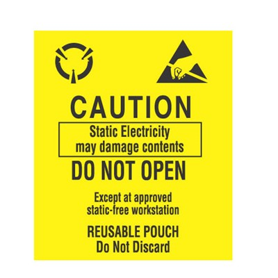 "Transforming Technologies LB9160 - Static Warning Labels - ""Caution Static Electricity ...Approved Static-Free Workstation Reusable Pouch Do Not Discard"" - 3.5"" x 3"""