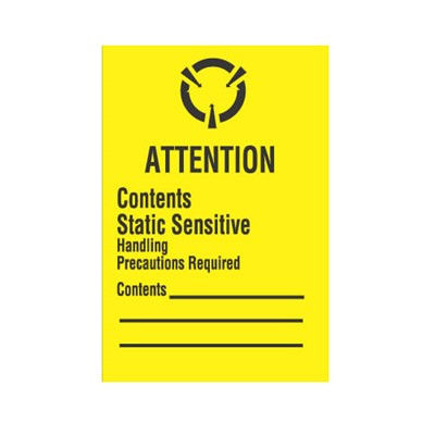 "Transforming Technologies LB9180 - Static Warning Labels - ""Attention Contents Static Sensitive Handling Precautions Required"" - 1.75"" x 2.5"""
