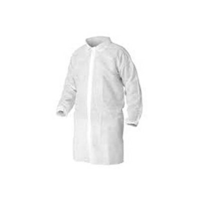 Keystone Safety LC0-WE-NW-LG - Polypropylene Lab Coat - Snap Front - Elastic Wrists - Cleanroom Class 7 - Large - White - 30/Case