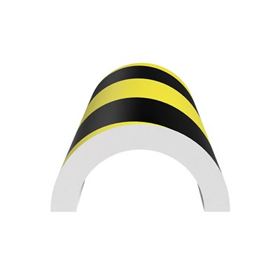 "Ergomat LHCPB120 - Large Half-Circle Pipe Bumper - 48"" Long - Black/Yellow Surface on White Expanded Foam Pad"