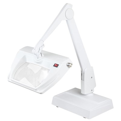 "Dazor LMR100-WH - Stretchview Series LED Magnifier - 3-Diopter - 28"" Reach - Contemporary Arm - Desk Base - Daylight Light Color - White"