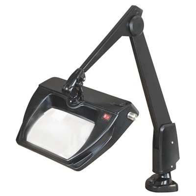 "Dazor LMR150-BK - Stretchview Series LED Magnifier - 3-Diopter - 28"" Reach - Contemporary Arm - Clamp Base - Daylight Light Color - Black"