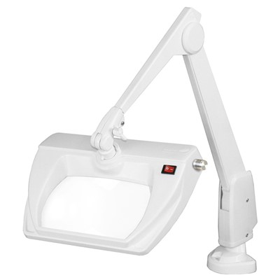 "Dazor LMR150-WH - Stretchview Series LED Magnifier - 3-Diopter - 28"" Reach - Contemporary Arm - Clamp Base - Daylight Light Color - White"