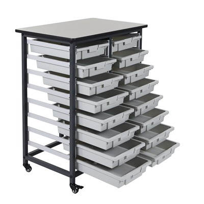"Luxor MBS-DR-16S - Mobile Bin Storage Unit w/Small Bins - Double Row - 30.75"" x 20"" x 0.75"""