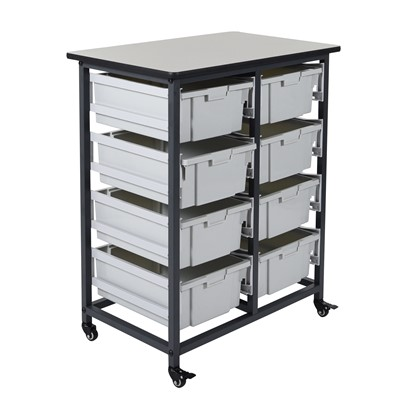 "Luxor MBS-DR-8L - Mobile Bin Storage Unit w/Large Bins - Double Row - 30.75"" x 20"" x 0.75"""