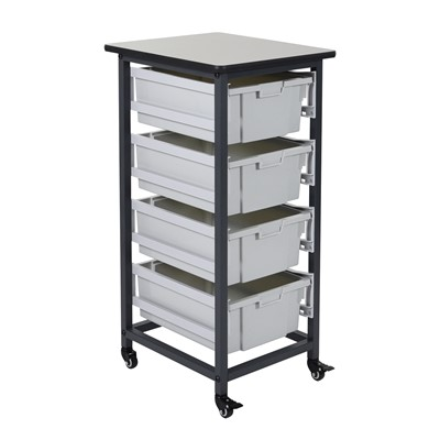 "Luxor MBS-SR-4L - Mobile Bin Storage Unit w/Large Bins - Single Row - 17.125"" x 20"" x 0.75"""