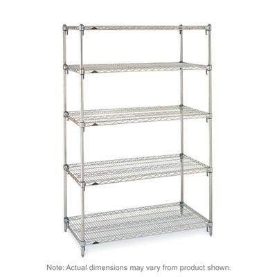 "InterMetro Industries (Metro) SA-247274C-S-4 - Metro Super Adjustable Super Erecta 4-Shelf Industrial Wire Shelving Starter Unit - Chrome - 24"" x 72"" x 74"""