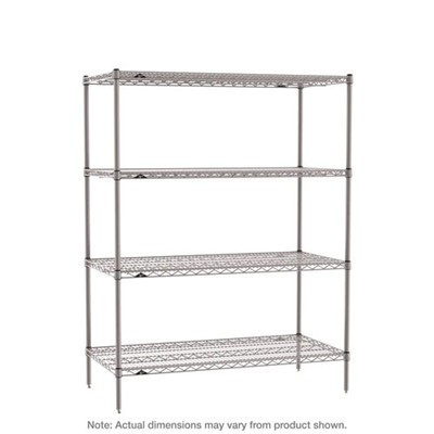 "InterMetro Industries (Metro) SE-243663K4-S-4 - Super Erecta 4-Shelf Industrial Wire Shelving Starter Unit - Metroseal Gray Epoxy - 24"" x 36"" x 63"""