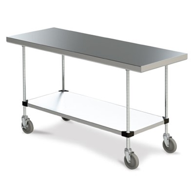 "InterMetro Industries (Metro) MWTS2436FS - Mobile Space Saver Worktable - Solid Stainless Steel Bottom - 24"" x 36"""
