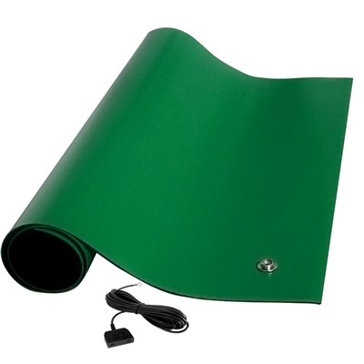 "Transforming Technologies MTT2472GN - MT4000 Series ESD Rubber Table Mat - Textured - 24"" x 72"" x 0.080"" - Green"