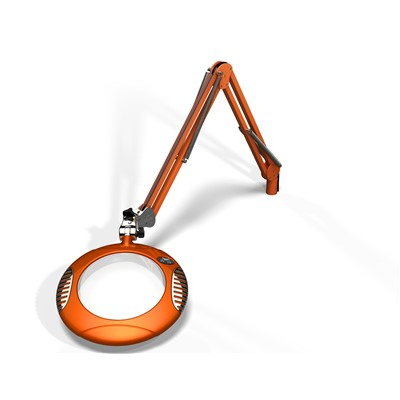 "O.C. White 62400-4 - Green-Lite® LED Big Eye Magnifier - ESD-Safe Illuminated Magnifier - 7.5"" Round - 4 Diopter - Clamp Base - Brilliant Orange"