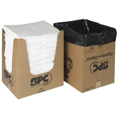 "Brady OP150DND - Oil Plus Heavy Weight Absorbent Pad w/Dispense-N-Dispose System - Perforated - 15"" x 19"" - 150/Case"