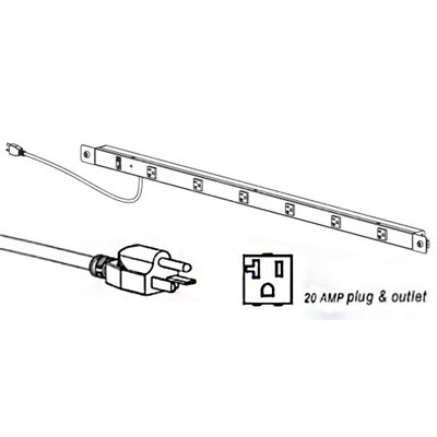 "Production Basics 8327 - Power Rail for Workbench - 20 amp - 72"" W"
