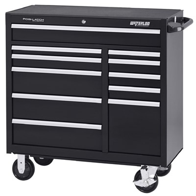 "Waterloo PCA-4111BK - Waterloo Professional Series 11-Drawer Cabinet - Thick Rubber Mat Top - 41"" x 42.25"" x 18"" - Black"
