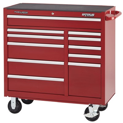 "Waterloo PCA-4111RD - Waterloo Professional Series 11-Drawer Cabinet - Thick Rubber Mat Top - 41"" x 42.25"" x 18"" - Red"