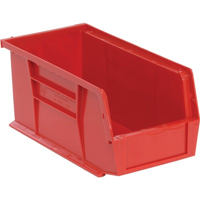 "Quantum Storage Systems QUS230-RD - Ultra Stack and Hang Bin - I.D. 10.25"" L x 4.375"" W x 4.75"" H - Red - 12/Carton"