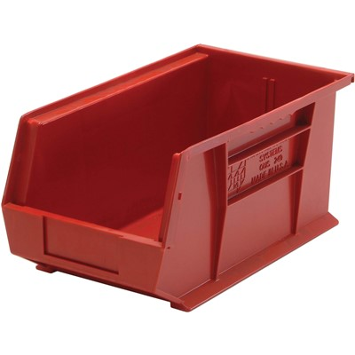 "Quantum Storage Systems QUS240-RD - Ultra Stack and Hang Bin - I.D. 14"" L x 6.5625"" W x 6.75"" H - Red - 12/Carton"