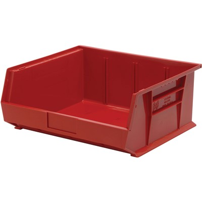 "Quantum Storage Systems QUS250-RD - Ultra Stack and Hang Bin - I.D. 14"" L x 14.75"" W x 6.75"" H - Red - 6/Carton"