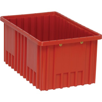 "Quantum Storage Systems DG92080-RD - Dividable Grid Tote Box - I.D. 14.875"" L x 9.25"" W x 7.5"" H - Red - 8/Carton"