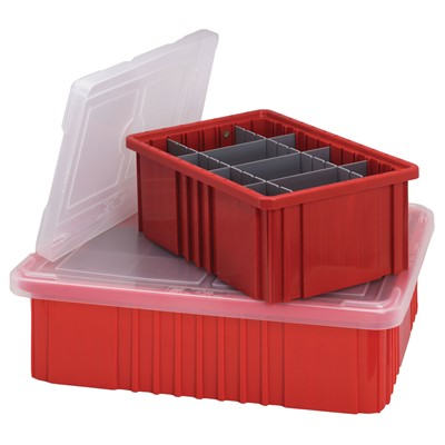 Quantum Storage Systems COV92000CL - Snap-On Cover for Dividable Grid Tote Box DG92035/DG92060/DG92080 - Clear - 4/Carton