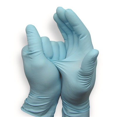 "QRP 8BQF09 - Qualatrile Nitrile Powder-Free Gloves - 8 mil - 9"" - Blue - 50/Pack"
