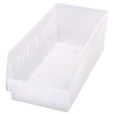 "Quantum Storage Systems QSB208CL - Clear-View Series Store-More 6"" Shelf Bin - 17.875"" x 8.375"" x 6"" - 10/Carton"