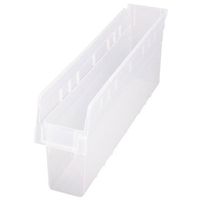 "Quantum Storage Systems QSB805CL - Clear-View Series Store-Max 8"" Shelf Bin - 23.625"" x 4.375"" x 8"" - 16/Carton"