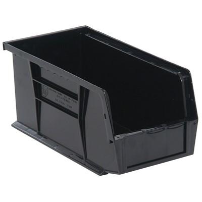 "Quantum Storage Systems QUS230CO - Ultra Stack and Hang Bin - Conductive - I.D. 10.25"" L x 4.375"" W x 4.75"" H - Black - 12/Carton"