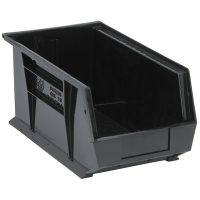 "Quantum Storage Systems QUS240CO - Ultra Stack and Hang Bin - Conductive - I.D. 14"" L x 6.5625"" W x 6.75"" H - Black - 12/Carton"