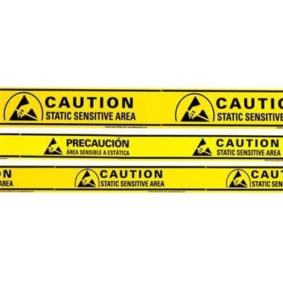"Static Solutions AT-4054 - Ohm-Shield™ ""Static Sensitive Area"" Aisle Warning Tape - 3"" x 36 yards"