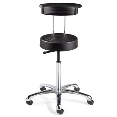 "Bevco S3050R-BK - ErgoLux Soft Poly S3000R Series Stool w/Backrest - 5-Star Polished Aluminum Base - 17""-22.5"" - Dual-Wheel Hard Floor Casters - Black"