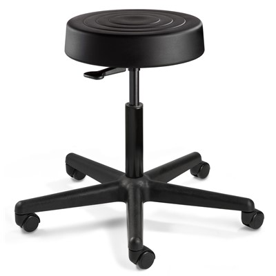 "Bevco S3300-BK - ErgoLux Soft Poly S3000 Series Backless Stool - 5-Star Plastic Base - 20.5""-28"" - Hard Floor Casters - Black"