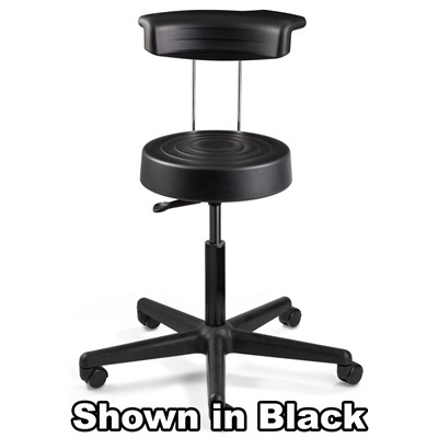 "Bevco S3300R-GR - ErgoLux Soft Poly S3000R Series Stool w/Backrest - 5-Star Black Nylon Base - 21""-28.25"" - Dual-Wheel Hard Floor Casters - Graphite"