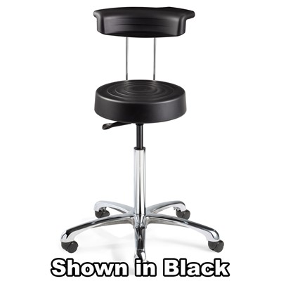"Bevco S3350R-GR - ErgoLux Soft Poly S3000R Series Stool w/Backrest - 5-Star Polished Aluminum Base - 20.5""-27.75"" - Dual-Wheel Hard Floor Casters - Graphite"