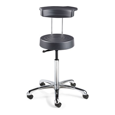 "Bevco S3550R-GR - ErgoLux Soft Poly S3000R Series Stool w/Backrest - 5-Star Polished Aluminum Base - 23.5""-33.5"" - Dual-Wheel Hard Floor Casters - Graphite"