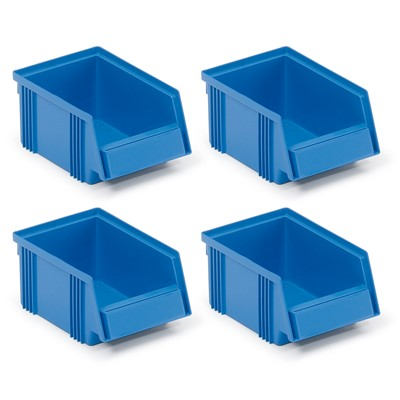 "Treston (Formerly Sovella) SBS4-1015-6 - 4 Stacking Bins - 6.5"" x 4.13"" x 2.95"" - Blue"