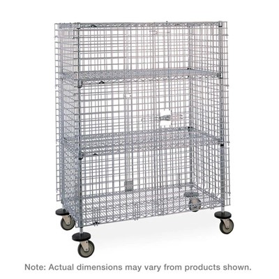 "InterMetro Industries (Metro) SEC56EC-4 - Super Erecta Mobile Security Shelving Unit with 2 Intermediate Shelves - Chrome - 27.25"" x 65"" x 67.9375"""
