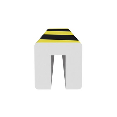 "Ergomat SIBP120 - Square I-Beam Protector - 48"" Long - Black/Yellow Surface on White Expanded Foam Pad"