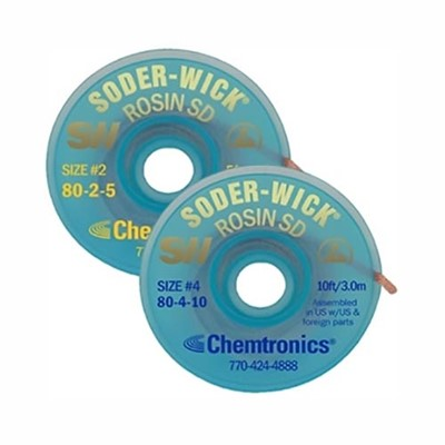 "Chemtronics 80-3-10 - Soder-Wick Desoldering Braid w/SD Bobbin - 10' - #3 Green 0.080""/2.0 mm - 25 bobbins in Performance Pak"