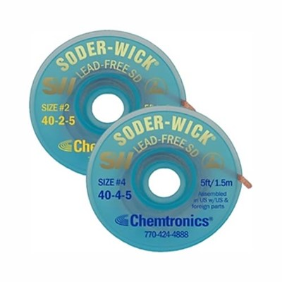 "Chemtronics 40-2-10 - Soder-Wick Lead-Free Braid SD w/SD Bobbin - 10' - #2 Yellow 0.060""/1.5mm-yellow - 25 bobbins in Performance Pak"