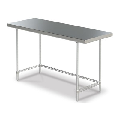 "InterMetro Industries (Metro) WTS2460FS - Stationary Space Saver Worktable - Solid Stainless Steel Bottom - 24"" x 60"""
