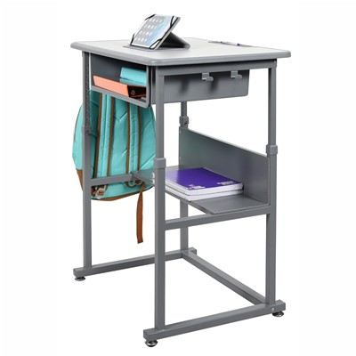 "Luxor/H Wilson STUDENT-M - Student Sit Stand Desk w/Manual Adjustment - 27.5"" W x 19.5"" D x 29""-42"" H"