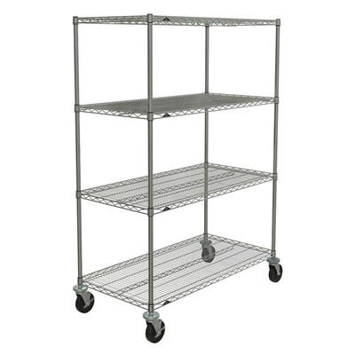 "InterMetro Industries (Metro) SE-186080C-MU-4 - Super Erecta 4-Shelf Industrial Wire Shelving Stem Caster Cart - Chrome - 18"" x 60"" x 80"""