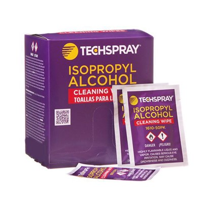 Techspray 1610-50PK - Isopropyl Alcohol Wipes - 50 Individually Wrapped Wipes/Package