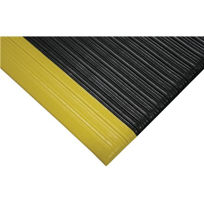 "Wearwell 451.38x27x60BYL - Tuf Sponge PVC Anti-Fatigue Mat - 27"" x 60"" - Black w/Yellow Borders"