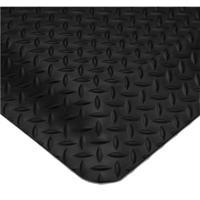"Wearwell 497.1x2x3BK - SMART Diamond-Plate Sponge Base Anti-Fatigue Mat - 100% Recycled Urethane Composite - 1"" Thick x 2' x 3' - Black"