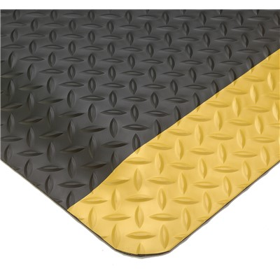 "Wearwell 497.58x2x3BYL - SMART Diamond-Plate Sponge Base Anti-Fatigue Mat - 100% Recycled Urethane Composite - 0.625"" Thick x 2' x 3' - Black w/Yellow Borders"