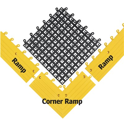 "Wearwell 560.78x6x15x15YL-CS4 - ErgoDeck® Open Grid Modular Interlocking Ergonomic PVC Anti-Fatigue Tile Ramp Corner - 6"" x 15"" x 15 "" - Yellow - 4/Case"