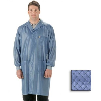Tech Wear ESD-Safe Lab Coat - Sterling-Style w/Lapel Collar & Raglan Sleeves - ESD Cuffs - OFX-100 - Knee Length - Blue