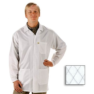 Tech Wear EconoShield Lab Coat - Lapel Collar - ECX-500 - 0.75 Length - White